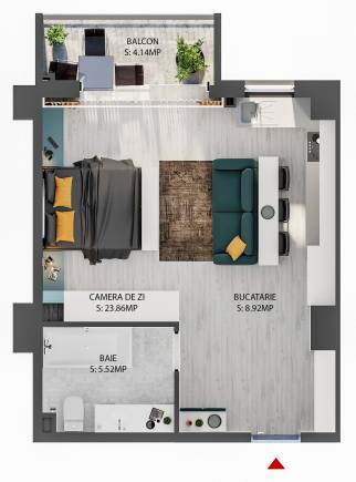Apartament tip STUDIO-2