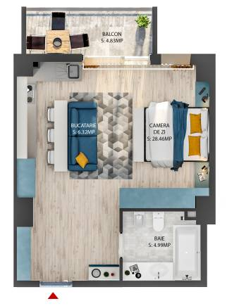 Apartament tip STUDIO-1